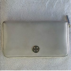 TORY BURCH white wallet for women with gold logo